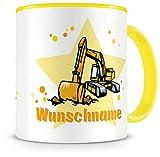 Samunshi® Kinder-Tasse mit Namen und einem Bagger als Motiv Bild Kaffeetasse Teetasse Becher...