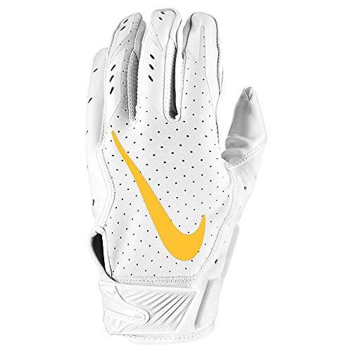 Nike Vapor Jet 5.0 White Pack Edition, American Football Handschuhe - weiß/gelb Gr. M
