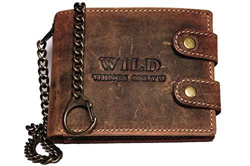 WILD THINGS ONLY !!! Bikerbörse mit Kette echt Leder Herrengeldbeutel Vintage braun