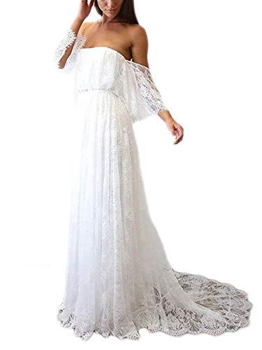 JAEDEN Brautkleid Hochzeitskleider Vintage Damen Lang Strandkleid Spitze Bohemian Schulterfrei Weiß EUR44
