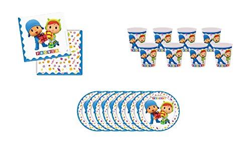 CAPRILO Lote de Cubiertos Infantiles Pocoyo con Niña (8 Vasos, 8 Platos y 20 Servilletas) .Vajillas y Complementos. Juguetes y Regalos de Cumpleaños, Bodas, Bautizos y Comuniones.
