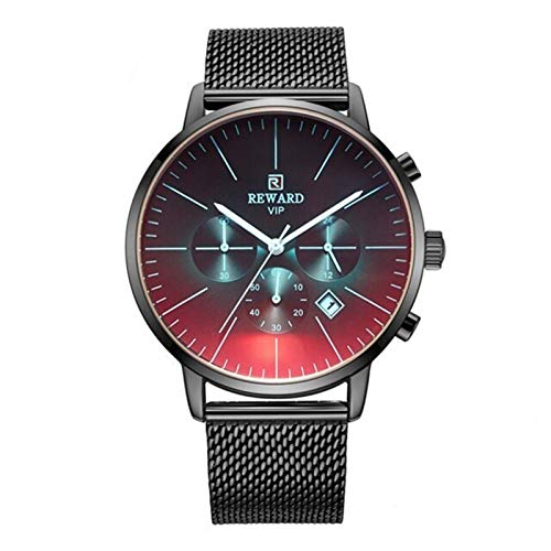 PULLEY -S 2020 - Reloj de cristal brillante para hombre, marca de lujo, cronógrafo, regalo masculino, acero inoxidable, estilo casual S (color: acero negro)