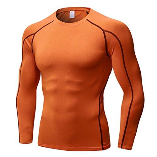 Yujeet Herren Atmungsaktiv Langarm Eng Anliegende Sport Und Fitness T-Shirt Lauftraining Elastische Kompressionskleidung Orange M