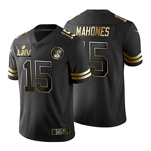 NCGD Patrick Mahomes Kansas City Chiefs # 15 Herren-Rugby-Trikot, American Football-Spieler Sportswear, Spiel Jersey-Red-LIVBlackGolden-XL
