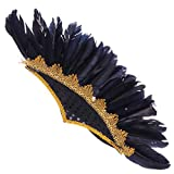 Abaodam Tocado de plumas de moda india fiesta de Halloween pluma tocado carnaval fiesta banda de pelo danza rendimiento espectáculo tamaño medio accesorios para el cabello negro