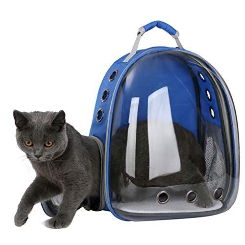 Luluspace Haustier Rucksack Raumkapsel, 360 ° Sichtfeld Tragbar Transportrucksack Transporttasche Tragetasche für Klein Haustier Hunde Katzen Kaninchen im Freien, Sicher & Atmungsaktiv (Blau)