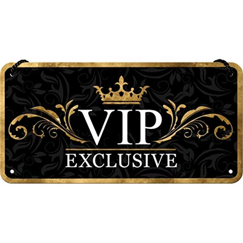 Nostalgic-Art Cartel Colgante Retro VIP Exclusive – Idea de Regalo para Personas Especiales, metálico, Diseño Vintage para decoración, 10 x 20 cm