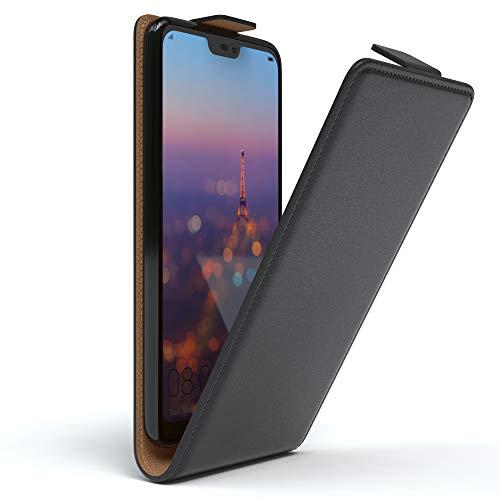 EAZY CASE Hülle kompatibel mit Huawei P20 Lite Flip Cover zum Aufklappen, Handyhülle aufklappbar, Schutzhülle, Flipcover, Flipcase, Flipstyle Hülle vertikal klappbar, aus Kunstleder, Schwarz