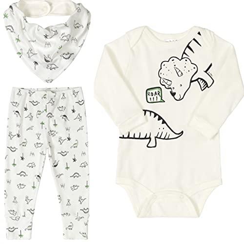 Conjunto Bebê Menino Algodão Body Manga Longa Calça Bandana 03 Peças Roupas de Bebe Dinossauro Bege ClaroUp Baby (RN 0-3 meses)