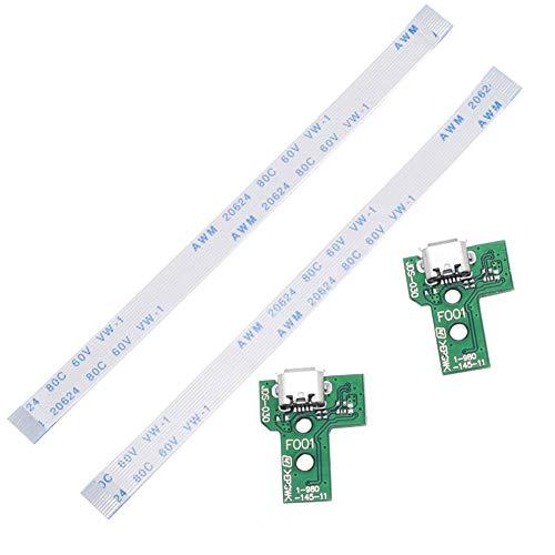 JDS-030 - Montaje del puerto de carga de repuesto para PS4 DualShock 4, pieza de reparación, adaptador para adaptador USB, toma de conexión, módulo de conector (con cable...