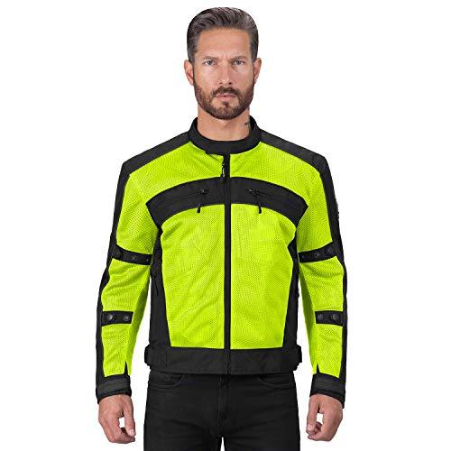Viking Cycle Ironside Textile Mesh Motorcycle Jacket for Men - Waterproof, CE Approved Breathable Armor for Bikers (Medium, Hi-viz)