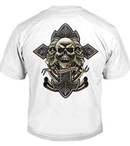 Celtic Cross Skull Biker T-Shirt 4X White Men's Tee (6.1oz)