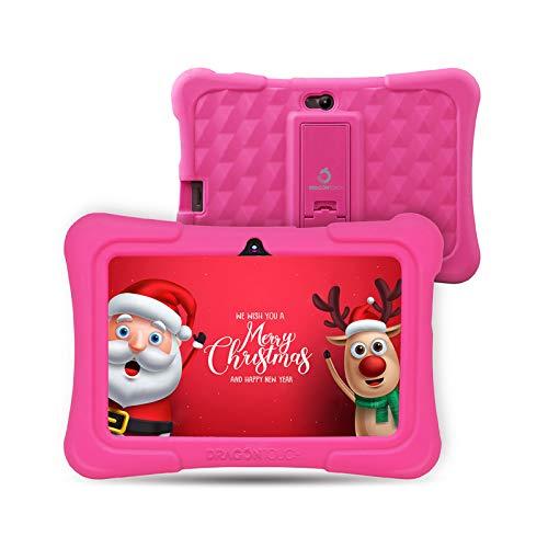 Dragon Touch Y88X Plus Tablet per Bambini 7 Pollici Android 8.1 Wi-Fi e Bluetooth IPS HD 1024 * 600 Quad Core 1 GB RAM 16 GB Rom Kidoz e Google Play preinstallato con Kid-Proof Custodia (Rosa) …