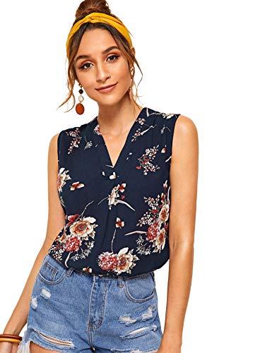 SweatyRocks Women's Chiffon Sleeveless V Neck Floral Print Blouse Loose Casual Tank Top Multi Small