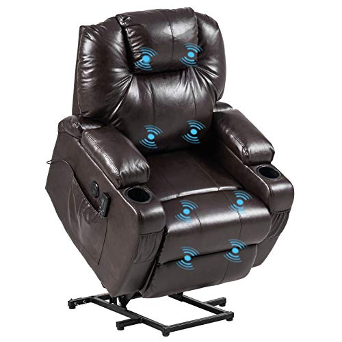 VINGLI Power Lift Recliner Chair for Elderly Electric Lift Chair with Massage,Faux Leather Massage Recliner Chair for Living Room,USB Charge Port,Side Pockets,Cup Holders,Hidden Armrest Storage