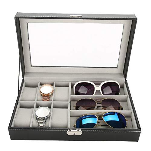 Soporte para gafas Estuche para exhibición Caja Organizador Estuche para gafas 3 rejillas Gafas 6 Pantalla para reloj Caja de almacenamiento Caja de cuero para reloj de PU Organizador