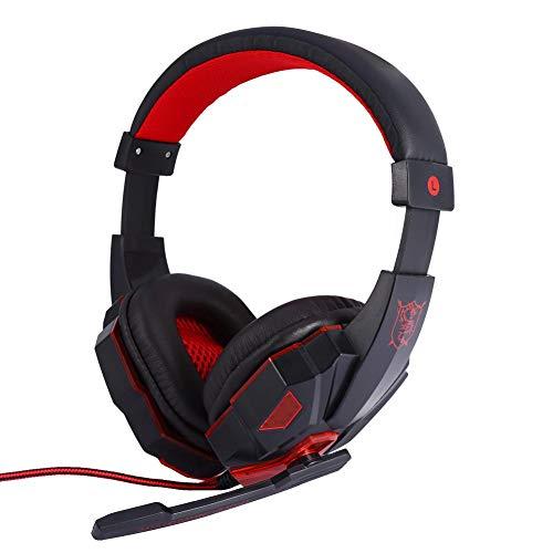 Professionele gaming-headset met microfoon, 3,5 mm jack bedrade stereohoofdtelefoon Ruisonderdrukking Spraakbesturing met LED-lampje(Rood)