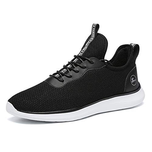 WYFC Men's Running Sneakers Légers Athlétiques Mesh Baskets Gym Sport Casual Chaussures pour Hommes,Black,46
