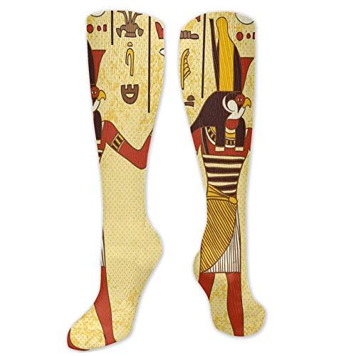 Calcetines de juego, jeroglífico egipcio antiguo con faraón retro mito papiro gráfico, calcetines divertidos para mujer, calcetines de algodón para mujer