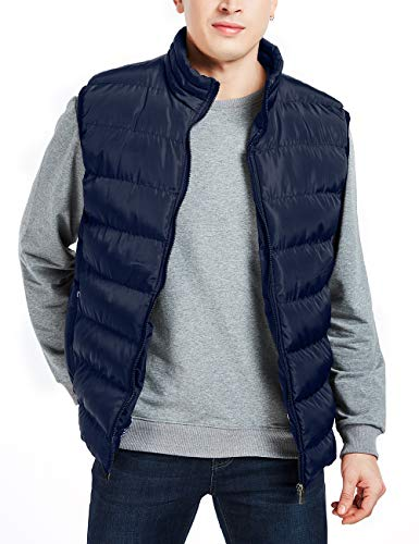 APRAW Men's Down Vest Winter Casual Work Sports Travel Outdoor Padded Puffer Pockets (Blue, X-Large)