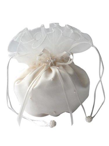 hochzeits-shop-hamburg Brauthandtasche,Zugbeutel mit Perlen u.Blumen Ivory