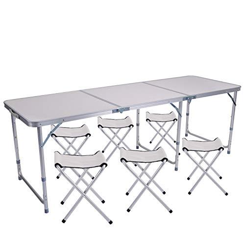 Sunflo Mesa Plegable 6 pies con 6 sillas Mesa para Acampar de Altura Ajustable y portatil Picnic Interior y al Aire Libre Mesa de Comedor con Parrilla