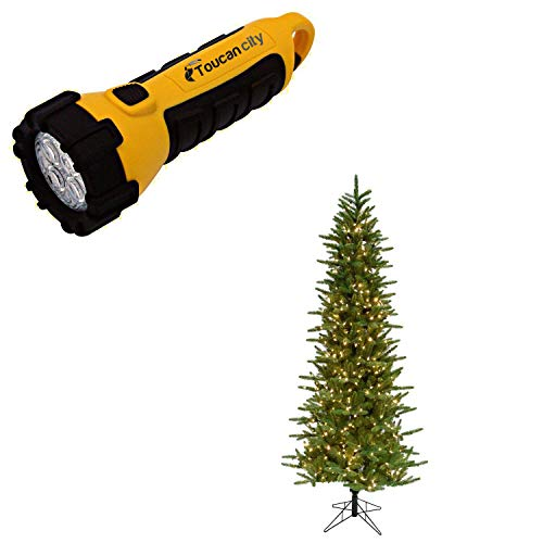 Toucan City LED Flashlight and Fraser Hill Farm 7.5 ft. Carmel Pine Slim Artificial Christmas Tree with Smart String Lighting FFCP075-3GR