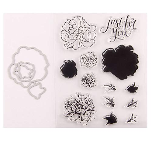 4.3 by 5.9 Inches Flower Layering Letters Stamps and Die Set for Scrapbooking Card Making Christmas Stamps and Dies (T1545)