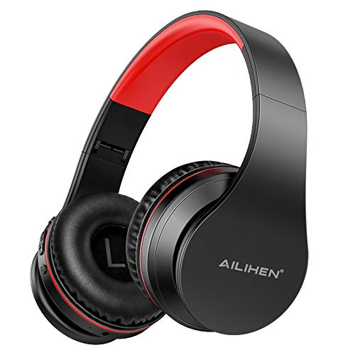 AILIHEN A80 Bluetooth Wireless Headphones On Ear with Mic Hi-Fi Stereo Wired Foldable V5.0 Headsets, Soft Earpads, Support with TF Card Mode, 25H Playtime for Travel TV PC Cellphone (Grey Red)