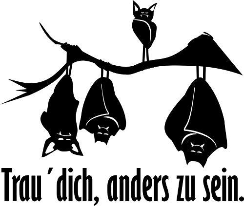 Wandtattoo – 'Trau dich, anders zu sein' – Spruch, Fledermäuse // Farb- und Größenwahl (Grau - 250 mm x 210 mm)