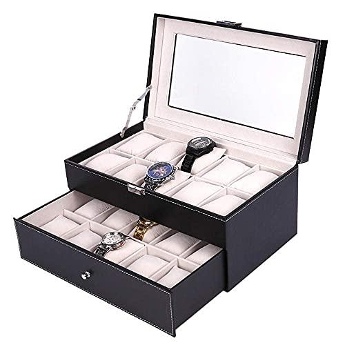 LGR Joyero Caja de Almacenamiento de Joyas Caja de Reloj de 20 bits de Cuero PU Largo Caja de joyería de Calavera de algodón de Seda