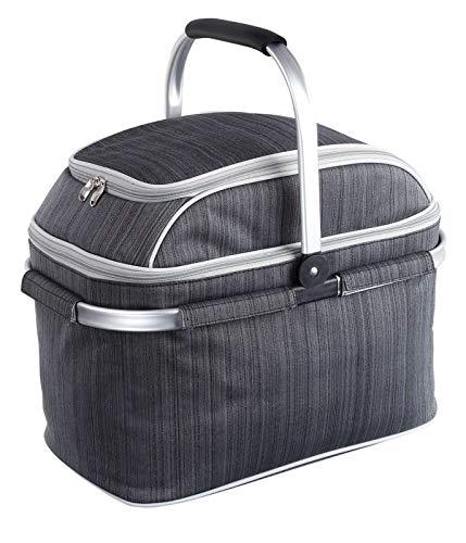 Aislado cesta de picnic con compartimento refrigerador y camping de vajilla y cubertería (Picnic funda, 23L,–Bolsa isotérmica, mango extraíble, 29Accesorios)