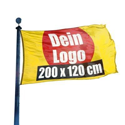 (B1) Fahne selbst gestalten Festival Fahne, Flagge, Gartenfahne, Werbefahne, Partyfahne, 200 x 120 cm, DRUCKUNDSO