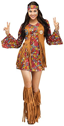 Fun World Costumes Women's Peace Love Hippie Adult Costume, Brown, Medium/Large