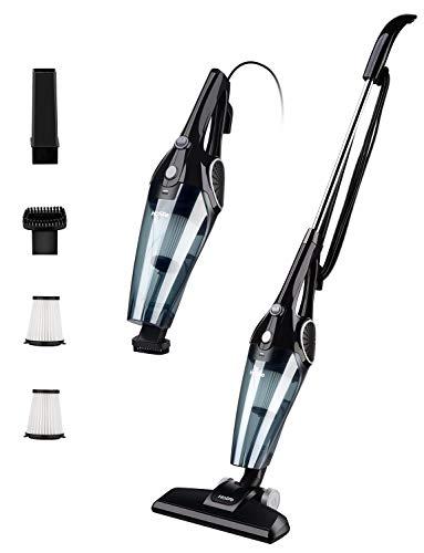 Hommak 12Kpa Aspirador Vertical, Aspiradora Escoba eléctrica 2 en 1, Aspiradora Vertical con 2 filtros HEPA Lavables y 3 cepillos, eléctrica Ajustable y portátil [Cable de 5 m, Carcasa de ABS]