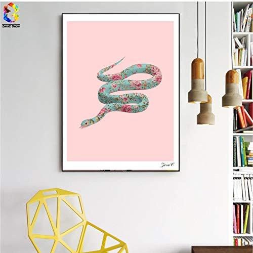 Nordic bloem slang poster en prints muurkunst roze canvas schilderij woonkamer Scandinavische wooncultuur schilderij frameloos