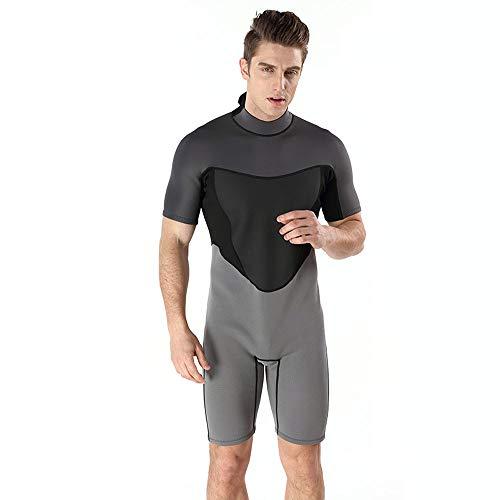 2MM Heren Wetsuit, Korte Mouwen Shorts, Warme En Koude One-Piece Wetsuit, Surfen Suit Neopreen Wetsuit,Gray,XXL