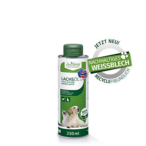 AniForte Premium Lachsöl für Hunde & Katzen 250 ml - Kaltgepresst mit Omega 3 und Omega 6 Fettsäuren, Fischöl für Welpen, Adult, Senior, Ohne Zusätze, Barf Ergänzung, Recyclebare Verpackung ohne BPA