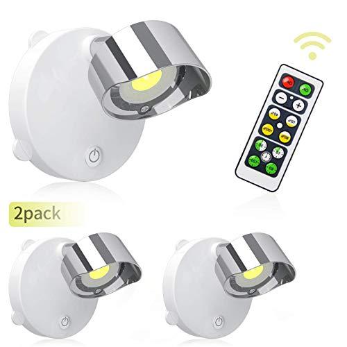 LIGHTESS 2 Stück Wandspot mit Schalter Batteriebetrieben Spot Lampe LED mit Fernbedienung Schrankleuchte für Küche Halle Studio usw [Energieklasse A++] (Warmweiß)