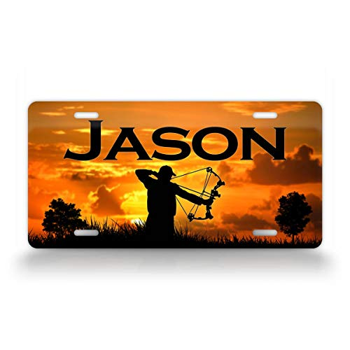 SignsAndTagsOnline Custom Any Text Bow Hunting License Plate Deer Hunter and Sunset Auto Tag
