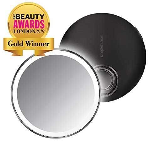 "simplehuman Sensor Mirror Compact 4"" Round, 3X Magnification,Black Stainless Steel"