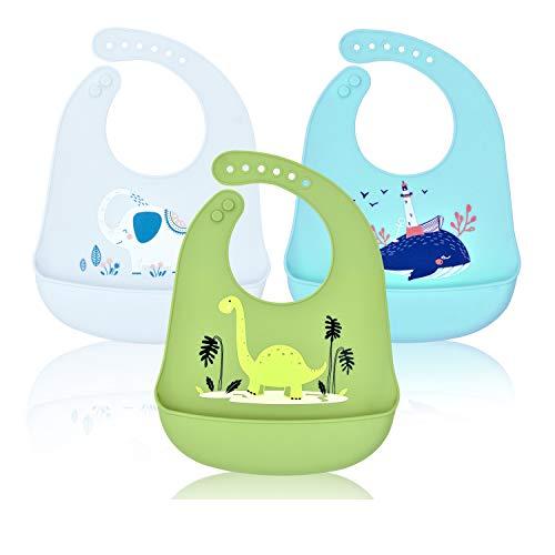 Baberos Bebé Impermeables Silicona,Babero con Bolsillo Flexible y Suave,Babero Grande y Ajustable Reutilizables Lavables para Niño/Niña,3 Piezas(Dinosaurio/Elefante/Ballena)