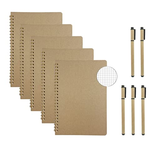 AOU 5-Pack Grid Spiral Notebook,Journal with Graph Paper,8.3'x5.7',A5 Writing Notepads with 500 Pages and 5 Gift Black Gel Pens (Brown)