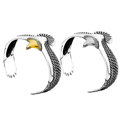 2 pulseras de águila, estilo vintage rock punk pulsera brazalete brazalete brazalete abierto para hombres y mujeres