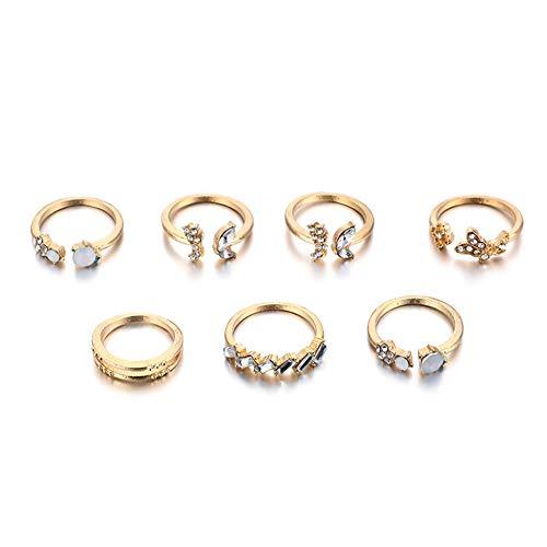 7pcs/Set Boho Butterfly Rhinestone Ring Crystal Finger Rings Women Jewelry