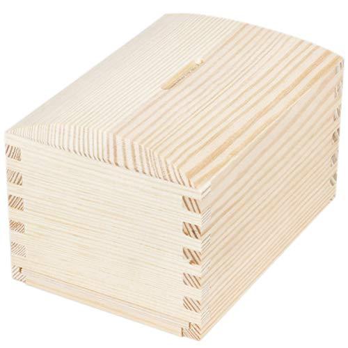 BARTU Sparbüchse Holz Spardose Schatztruhe Urlaubskasse Geldbox Sparkästchen Natur