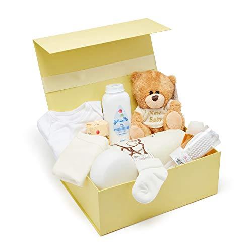 Baby Box Shop - Baby Shower Baby Party Geschenke und das Notwendig-ste für Neugeborene - Neugeborenen Set Mädchen - Baby Geschenk Mäd-chen – Teddybär und gelbe Aufbewahrungsbox inklusive