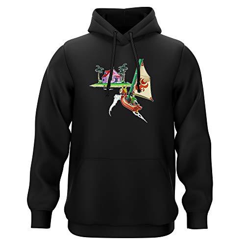 Sweat-Shirt à Capuche Noir Parodie Dragon Ball Z - Zelda - Link et la Kame House - La découverte d'une Nouvelle île. (Sweatshirt de qualité Premium de Taille XL - imprimé en France)