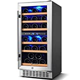 【Upgraded】Wine Cooler Dual Zone,Aobosi 15 inch 30 Bottle Wine refrigerator Built-in or...