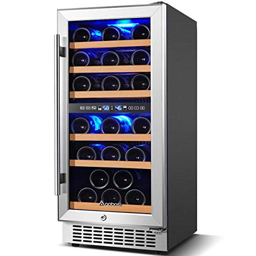 【Upgraded】Wine Cooler Dual Zone,Aobosi 15 inch 30 Bottle Wine refrigerator Built-in or Freestanding with Fashion Look,Quick and Silent Cooling System,Double-Layer Tempered Glass Door,Front Ventilation